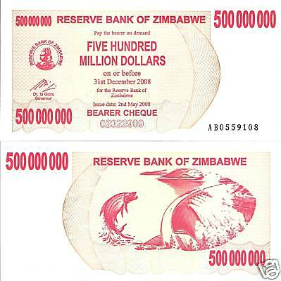ZIMBABWE $500 Million Dollars Banknote World Money Currency Africa Note p60 2008