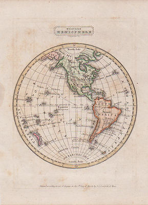 Original Western Hemisphere 1835 Map United States North & South America H/Color