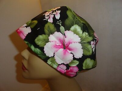 WOMEN'S SURGICAL_SCRUB HAT_CAP_Tropical+Hawaiian_flowers_hibiscus_cotton