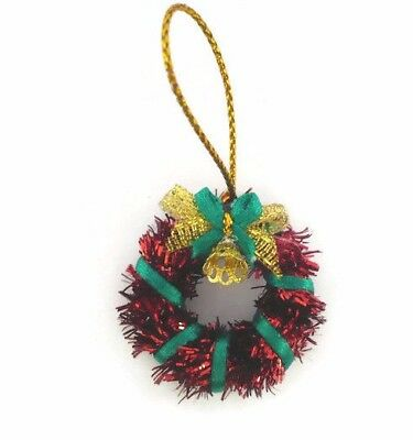 Dollhouse Miniature Red & Green with Bell Christmas Wreath Decor Holiday 2.50 cm