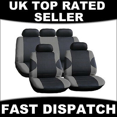 Universal Full Car Seat Cover Set Racing Style Grey Black Washable Gray