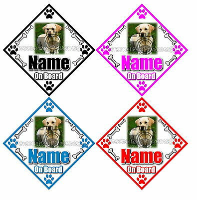 Personalised Dog On Board Car Sign - Any photo, Any Name/Text, Any Colour!