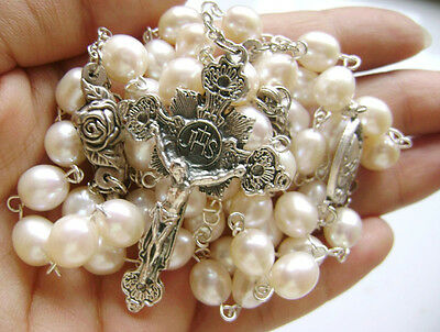 RICE AAA 8MM Real Pearl & Rose Beads Rosary Crucifix Cross Catholic NECKLACE