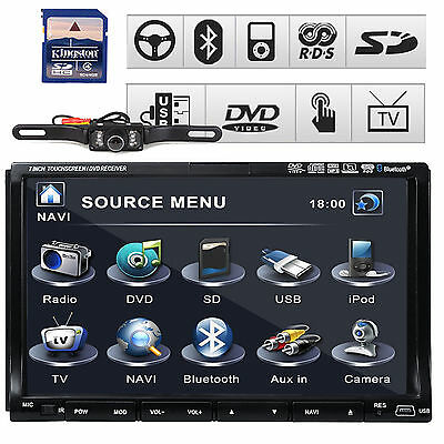 "GPS Navigator 7"" HD Double 2 Din Car Radio DVD Player 3D PIP Bluetooth TV+Camera"