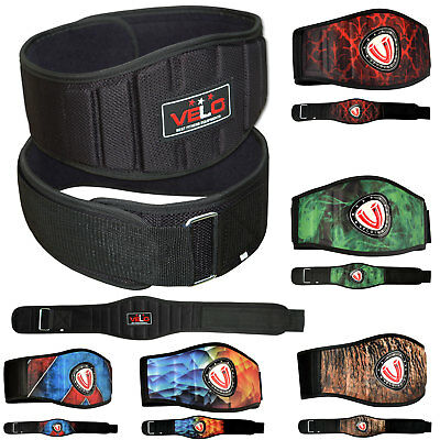 VELO Weight Lifting Belt Gym Training Back Support Neoprene Pain Fitness Lumber