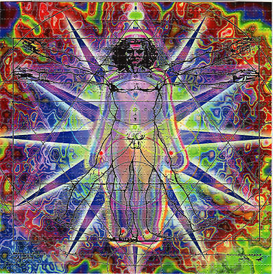 HUMAN BEING perforated BLOTTER ART psychedelic LSD Acid Art paper sheet tabs