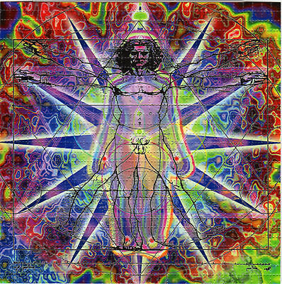 HUMAN BEING perforated sheet BLOTTER ART psychedelic