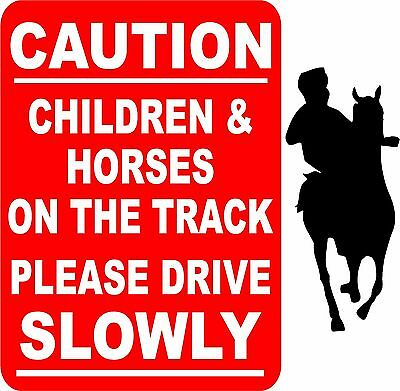 Caution Children And Horses On The Track Sign/notice L