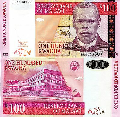 MALAWI 100 Kwacha Banknote World Money UNC Currency Africa Note p54a - 2005 Bill
