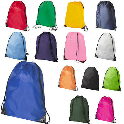 Premium School Drawstring Book Bag Sport Gymsac Swim PE Backpack -  18 Colours