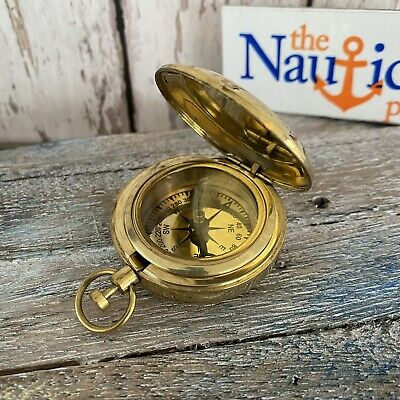 NEW Brass Pocket Compass w/ Lid ~ Magnetic ~ Push Button ~ Nautical Camping