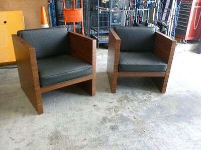 Ultimate Pair Mid Century Modern Rosewood & Leather Cube Lounge Chairs