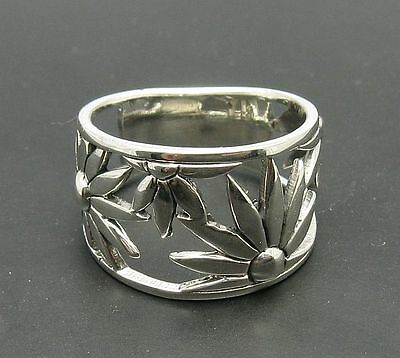 Sterling Silver Ring Flower Band Solid 925 Size 4 - 10 Quality