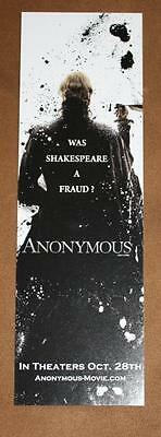 ANONYMOUS - Original Movie Promo BOOKMARK D/S MINT RARE NEW WILLIAM SHAKESPEARE