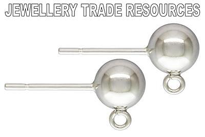 1 Pair STERLING SILVER EARRING EAR POST 6mm BEAD & RING DROPPER BALL STUDS