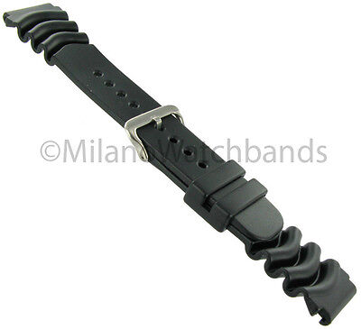 22mm Rubber Ribbed Wavy End Black Sport Watch Band Mens Long by Speidel Express