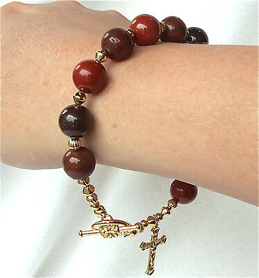 Brown and Rust Color Agate Stone Toggle Clasp Decade Rosary Bracelet GORGEOUS!