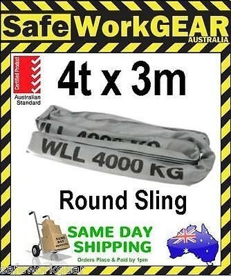 (Pack of 2) 4 Tonne Ton x 3 Metre Round Lifting Sling Gre