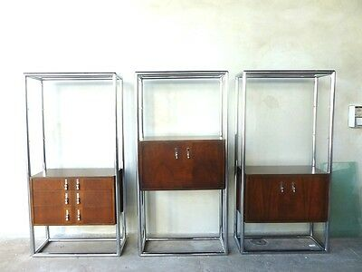 3 1960's SPACE AGE MOD LANE CHROME WOOD & GLASS ENTERTAINMENT OR SHELVING UNITS