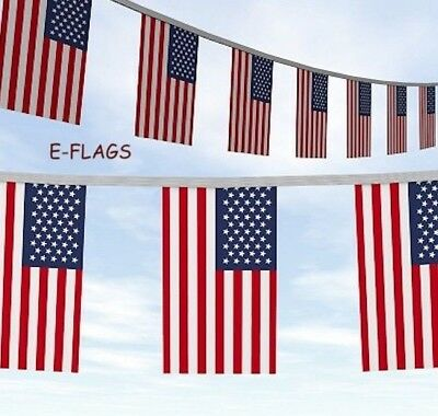 Usa 10 Metre 20 Flags American Stars & Stripes Thanksgiving Day Bunting