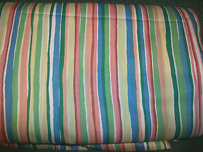 Pink, Blue, Green & Yellow Striped Cotton Blend Fabric