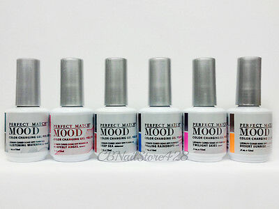LECHAT Perfect Match MOOD- Color Changing Gel Polish- Set of 6 Colors .5oz/15ml