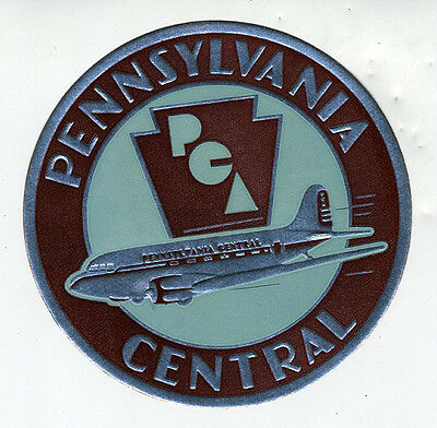 1940s Pennsylvania Central Embossed Airline Luggage Label