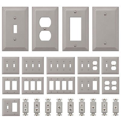 Switch Plate Outlet Cover Wall Rocker Satin Nickel