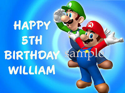 SUPER MARIO and LUIGI Edible CAKE Decoration Image Icing Topper Free Shipping