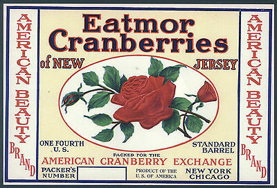 *Original* AMERICAN BEAUTY Roses Flower New Jersey CRANBERRY Label NOT A COPY!!