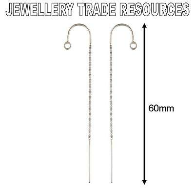 STERLING SILVER EARRING EAR BOX CHAIN THREADER DROPPER HOOK WIRE & RING 60mm