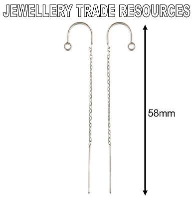 STERLING SILVER EARRING EAR CABLE CHAIN THREADER DROPPER HOOK WIRE & RING 58mm