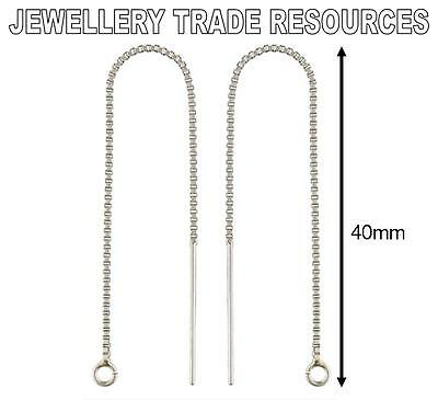 STERLING SILVER EARRING EAR BOX CHAIN THREADER DROPPER HOOK WIRE & RING 40mm