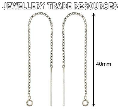 STERLING SILVER EARRING EAR CABLE CHAIN THREADER DROPPER HOOK WIRE + RING 40mm