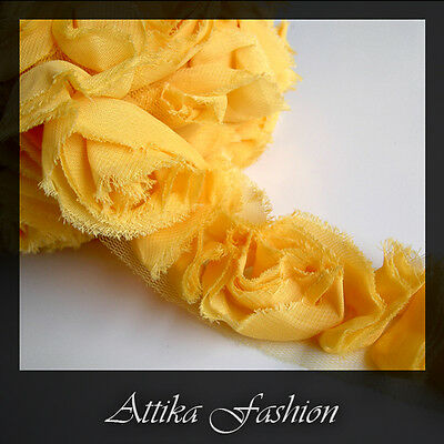 Peach CHIFFON FLOWERS Frayed Mesh Fabric LACE TRIM 1y Sewing Edging DIY Crafts
