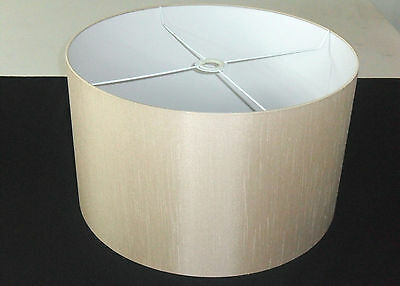 "Hand Made 16"" Rolled Edge Coffee-Beige Satin Backed Duppion Lampshade"