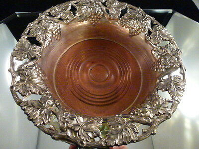 Vintage Japan  Silver Plated Wine / Champagne Coaster...grape Vines Magnum