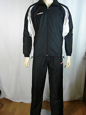 Legea Mens Black Tracksuit  Zip Up Top & Bottoms Sizes S M L XL Mesh Lining