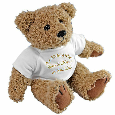 Personalised Wedding Ring Bearer Teddy - Gold Ribbon Personalised Ring Cushion