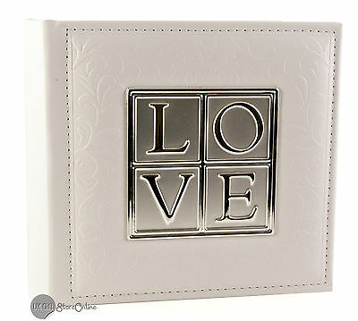 "Deluxe Silver & White ""Love"" Leatherette Wedding Album (77980)"