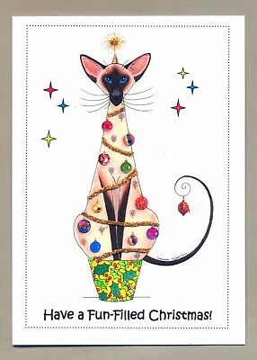 New  Large Glittery Siamese Cat Tree Christmas Card By Suzanne Le Good