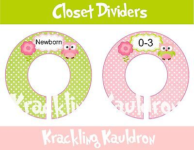 PRE-ASSEMBLED Custom Closet Dividers.... Green and Pink owls 6 RINGS {K174}