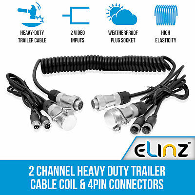 Heavy Duty Trailer Cable Coil and 4PIN Connectors with 2 AV inputs