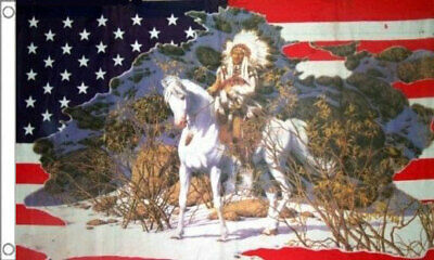 5' x 3' USA Indian Chief Horse Flag US Snow Scene America American Banner