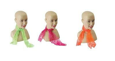 1980s #DISCO NEON LACE SCARF PINK / GREEN / ORANGE HEN NIGHT FANCY DRESS RAVE
