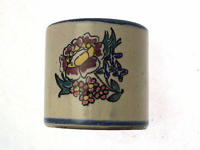 c1930 Honiton pot floral with blue rim shape 13