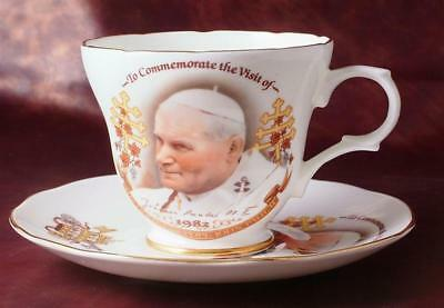 c1982 commemorative cup and saucer Visit of Pope John Paul II