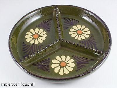 Studio Pottery 3 Section 8.25 Inch Hors Doeuvres Dish