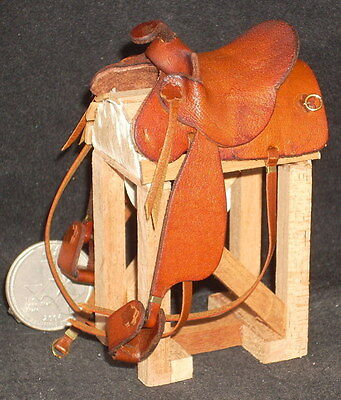 Dollhouse Miniature Cowboy / Western SADDLE ONLY New Brown 1:12 Horse Rodeo