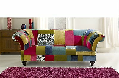bright coloured patch work chesterfield sofa brand new